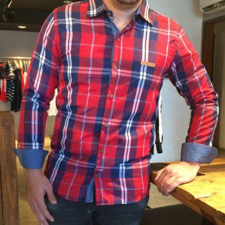 Camisa Xadrez Manga Longa Vermelho e Azul