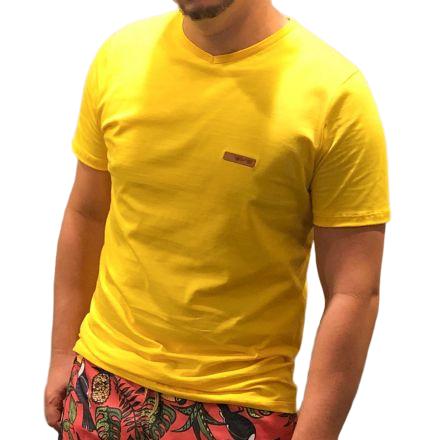 Camiseta Básica Gola V Amarela