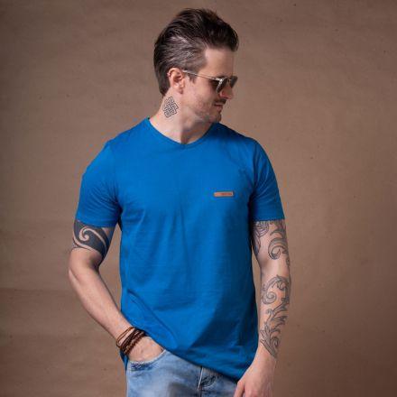 Camiseta Básica Gola V Azul