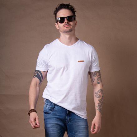 Camiseta Básica Gola V Branca