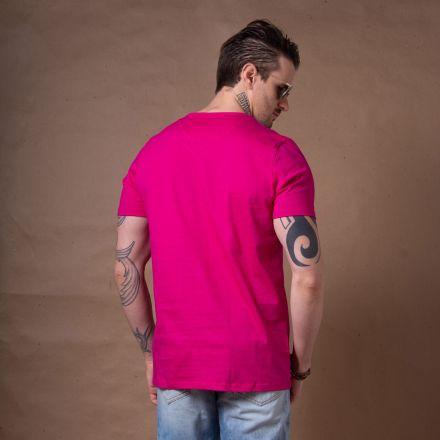Camiseta Básica Gola V Rosa