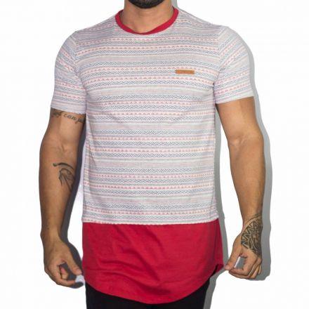 Camiseta Long Line Etnica Sobreposição