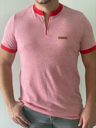 Camiseta Zíper Chambray Vermelha