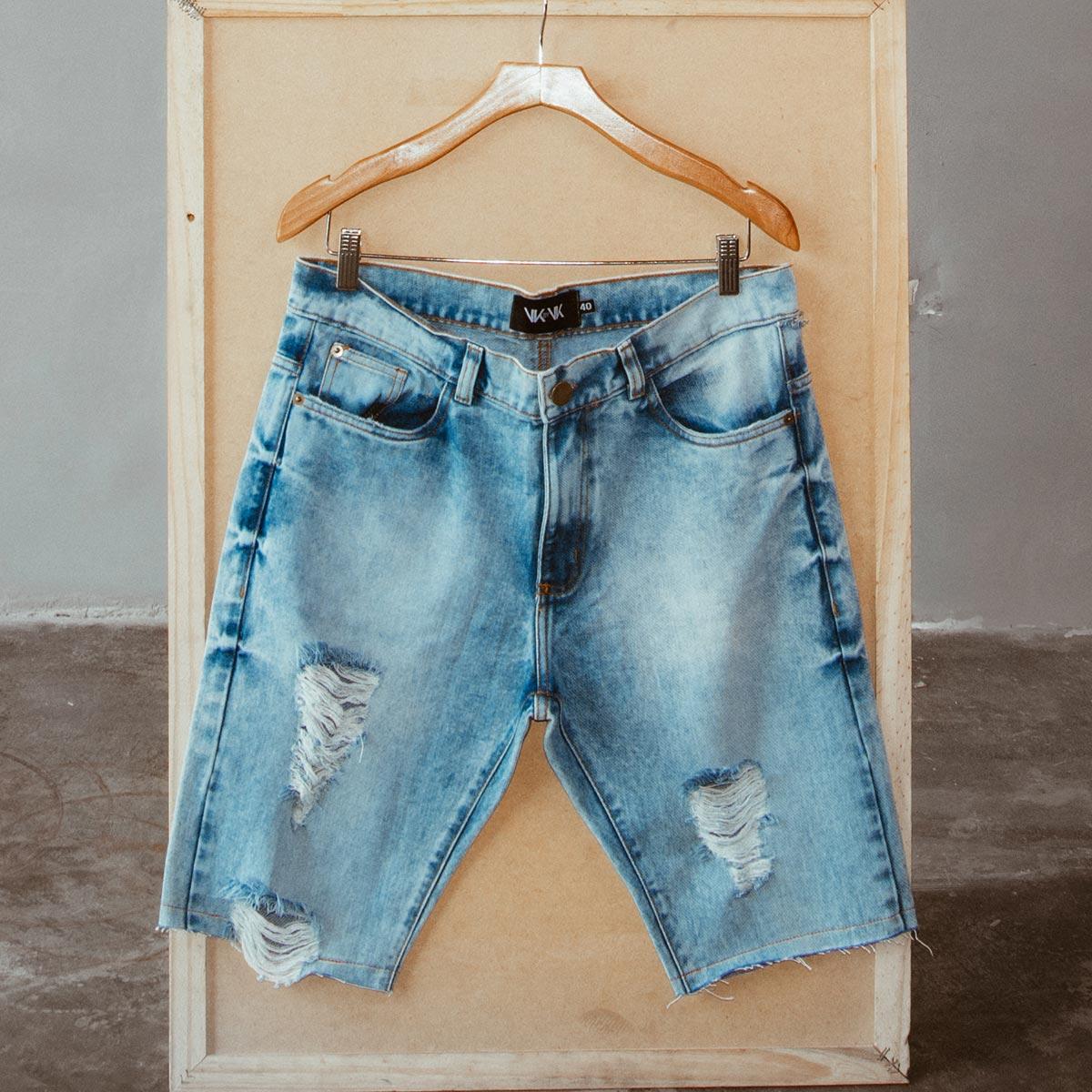 b9efe319a9 Bermuda Destroyed Jeans SkyFoan Inverno - VK by VK