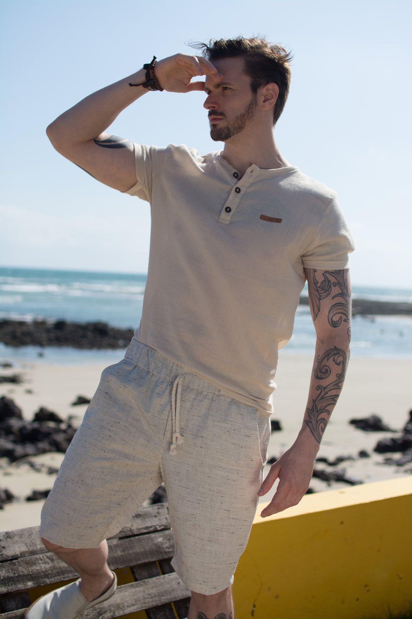 Camisa Naturale Areia Manga Curta