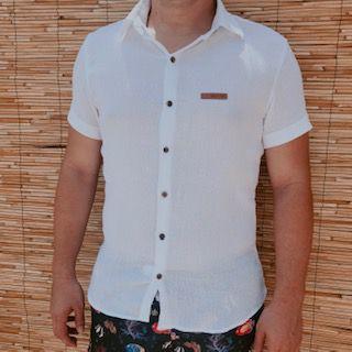 Camisa Naturale Branca Botão Manga Curta