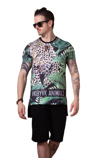 Camiseta Long Line Tigre Tropical