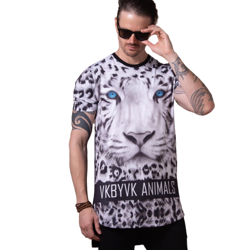 Camiseta Long Line Tigre White