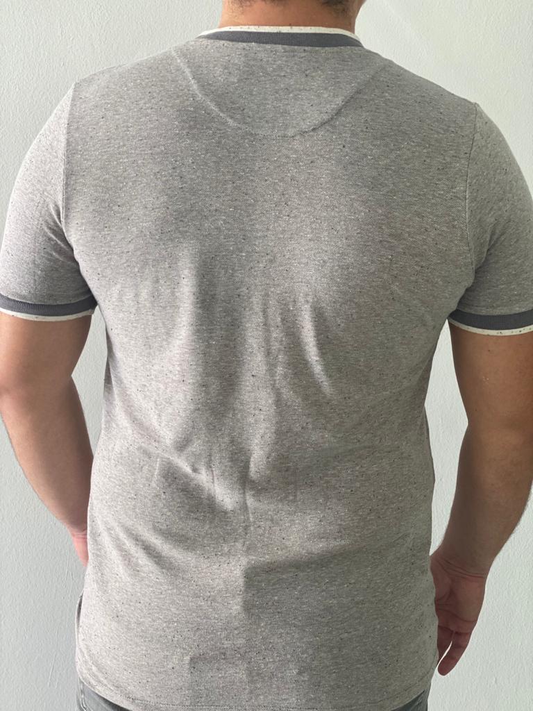 Camiseta Zíper Chambray Cinza