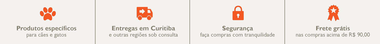 Entregas em Curitiba com taxa gratuita nas compras acima de R$ 90,00.