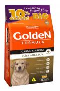 Ração Golden Fórmula Adultos Carne & Arroz 15kg - BIG=Grátis 1,5 kg a mais!