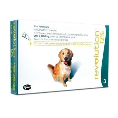 Antipulgas e Carrapatos - Cães de 20 a 40 kg - Revolution 12% - 240 mg (3 ampolas)