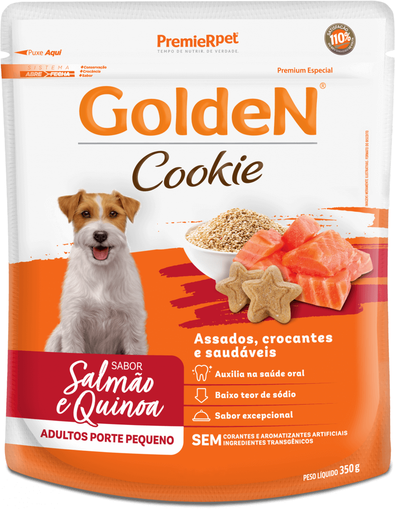 Biscoito GoldeN Cães Adultos Porte Pequeno - Salmão e Quinoa 350g