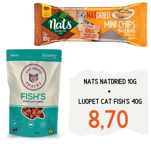 Combo Felino: Luopet Cat Fish's 40g + Nats NatDried 10g
