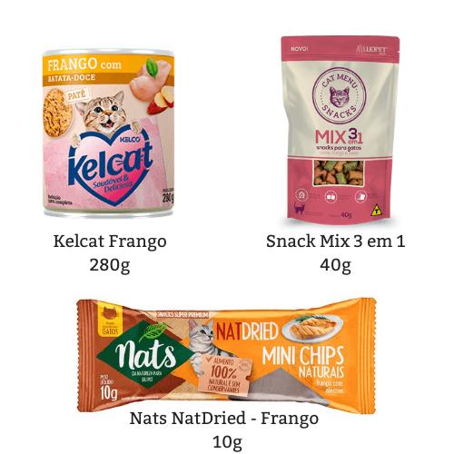Combo Felino: Kelcat Frango 280g + Snacks Mix 40g + NatDried Frango 10g