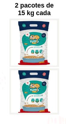 Granulado Higiênico de Madeira Tutto Cat -  Combo: 2 pacotes de 15 kg