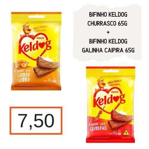 Kit Keldog: Bifinho Churrasco 65 g + Bifinho Galinha Caipira 65 g
