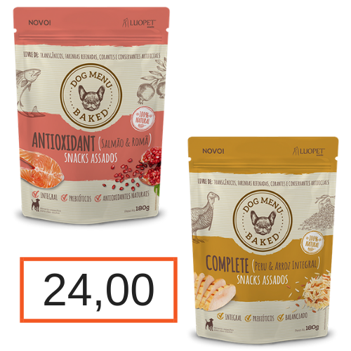 Kit Luopet Antioxidant (Salmão & Romã) 180 g + Complete (Peru & Arroz Integral) 180g
