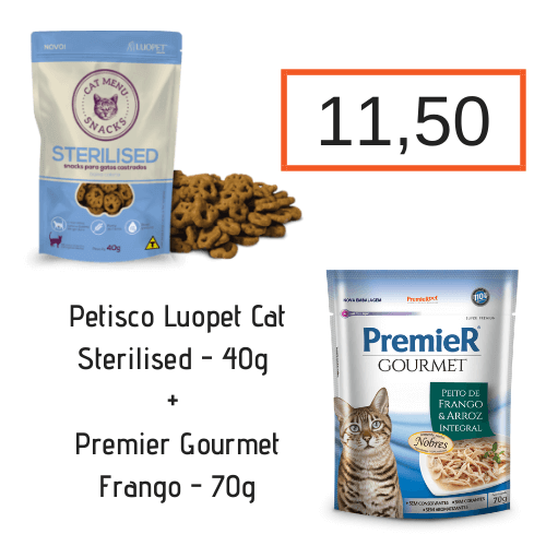 Luopet Cat Sterilised - 40g + Sachê Premier Gourmet Gatos Frango - 70g