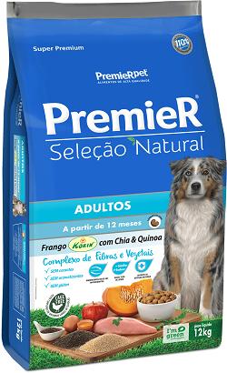Ração Premier Seleção Natural  Frango Korin com Chia e Quinoa Raças Médias / Grandes 12 kg