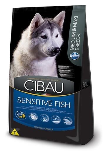 Ração Cibau Sensitive Fish Medium e Maxi para cães adultos - sensíveis - de médio ou grande porte - 12kg