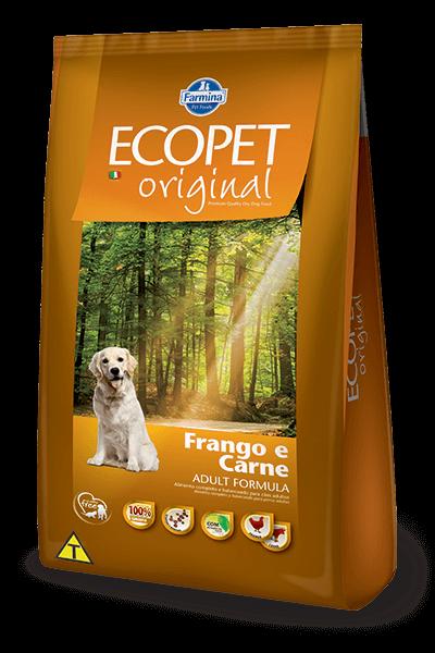 Ração Ecopet Natural Original Frango e Carne para cães adultos - 20 kg