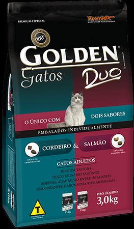 Ração Golden Gatos Adultos DUO Cordeiro e Salmão