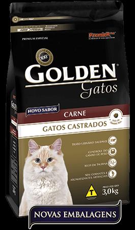 Ração Golden Gatos Castrados Carne  - Pacote de 3 kg + 300g grátis