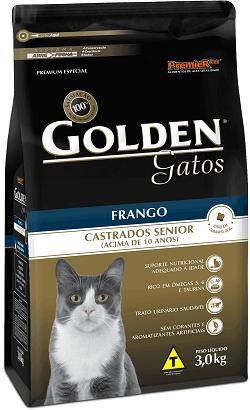 Ração Golden Gatos Castrados Sênior Frango - Acima 10 anos - 3 kg