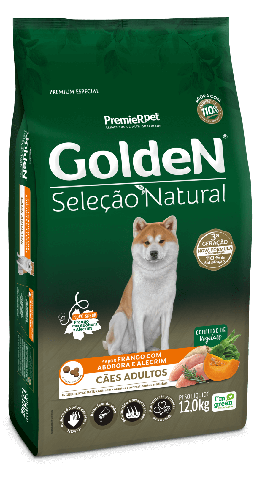 Ração Golden Seleção Natural Cães Adultos - Frango com Abóbora e Alecrim