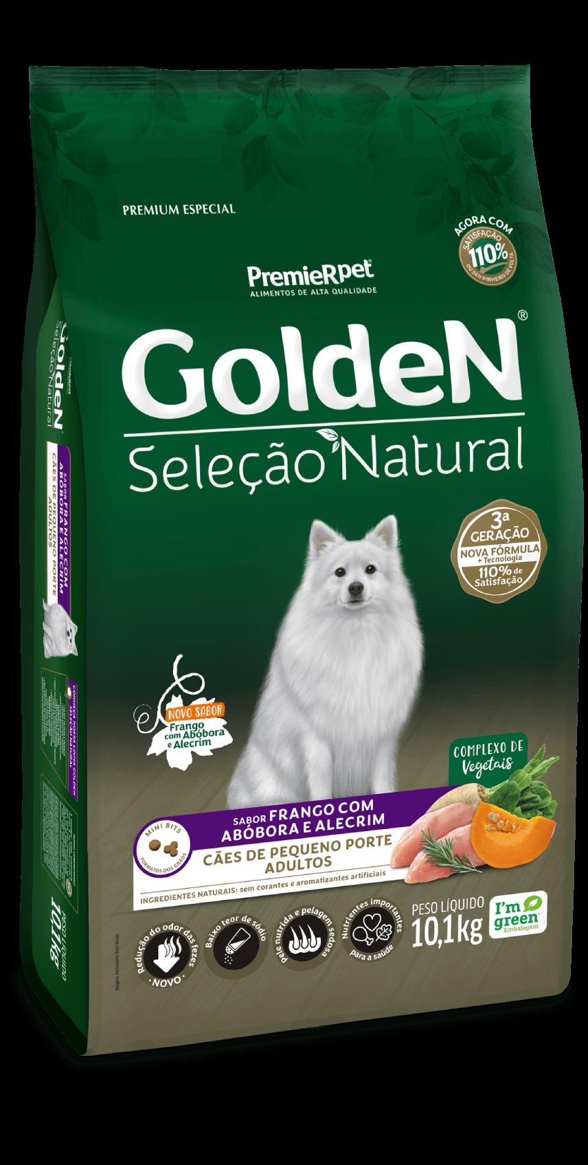 Ração Golden Seleção Natural Cães Adultos Pequeno Porte - Frango com Abóbora e Alecrim