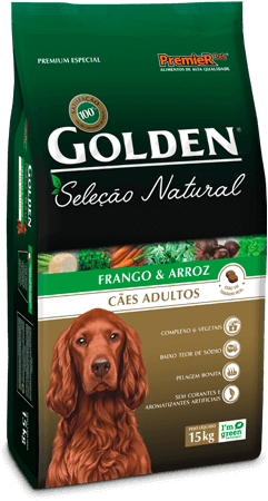 Ração Golden Seleção Natural Cães Adultos Sabor Frango & Arroz 15kg