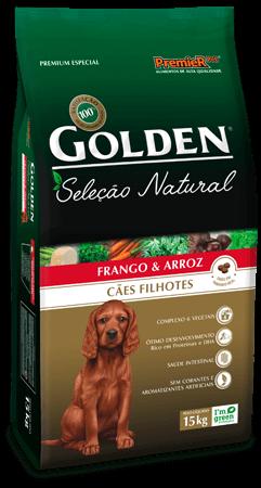 Ração Golden Seleção Natural Cães Filhotes Sabor Frango & Arroz 15kg