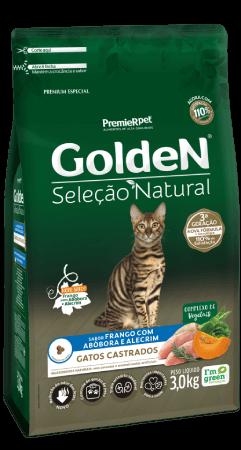 Ração Golden Seleção Natural Gatos Castrados - Frango com Abóbora e Alecrim