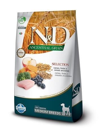 Ração N&D Ancestral Grain Selection para cães adultos de porte médio - 15 kg