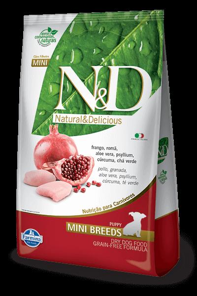 Ração N&D Natural & Delicious Prime Filhotes - Frango e Romã (Raças Pequenas)