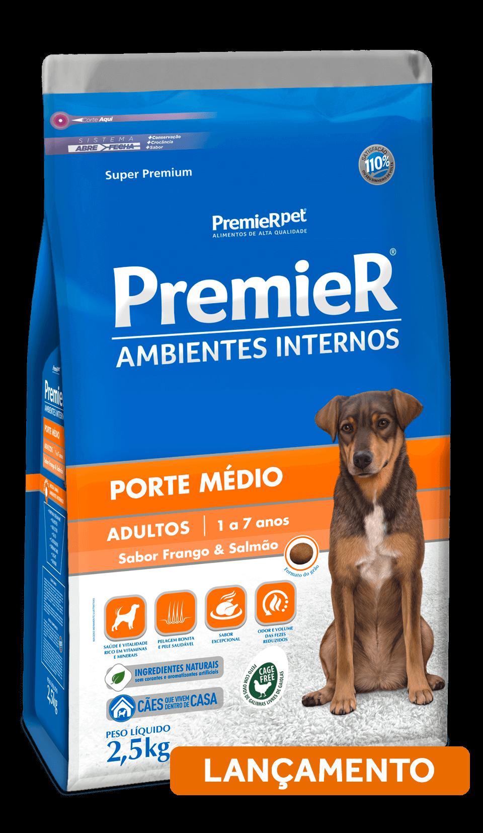 Ração Premier Ambientes Internos cães adultos de porte  médio - Frango e Salmão