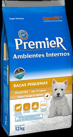 Ração Premier Ambientes Internos Cães Filhotes Sabor Frango & Salmão