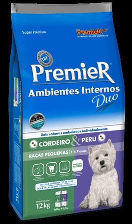 Ração Premier Ambientes Internos DUO  Cães Adultos Sabores Cordeiro & Peru