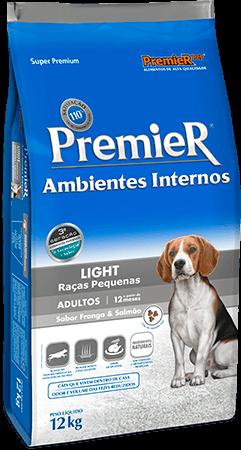 Ração Premier Ambientes Internos Light Cães Adultos Sabor Frango & Salmão