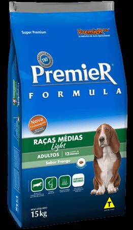 Ração Premier Light Raças Médias Cães Adultos Sabor Frango - 15kg
