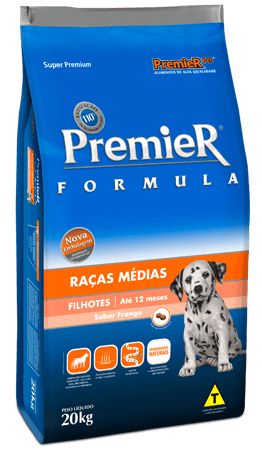 Ração Premier Raças Médias Cães Filhotes Sabor Frango - 20 kg
