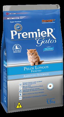Ração Premier Gatos Filhotes Ambientes Internos Pelos Longos Frango 1,5kg