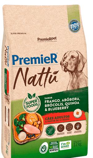 Ração Premier Nattu - Frango, abóbora, quinoa, brócolis e blueberry para Cães Adultos de porte médio ou grande - 12 kg