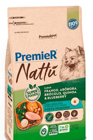 Ração Premier Nattu - Frango, abóbora, quinoa, brócolis e blueberry para Cães Adultos de porte pequeno