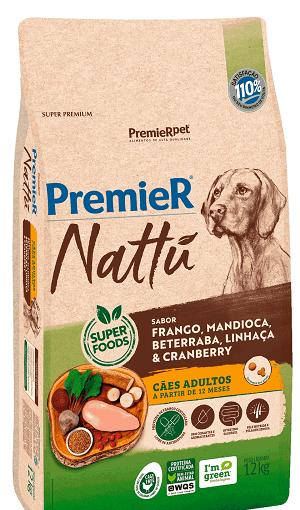 Ração Premier Nattu - Frango, mandioca, beterraba, linhaça e cranberry para Cães Adultos de porte médio ou grande - 12 kg