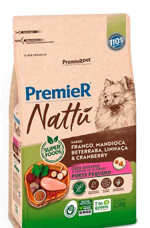 Ração Premier Nattu - Frango, mandioca, beterraba, linhaça e cranberry para Cães Adultos de porte pequeno