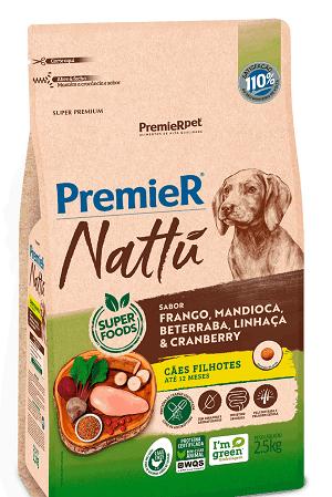 Ração Premier Nattu - Frango, mandioca, beterraba, linhaça e cranberry para Cães Filhotes de porte médio ou grande