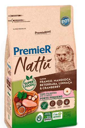 Ração Premier Nattu - Frango, mandioca, beterraba, linhaça e cranberry para Cães Filhotes de porte pequeno - 2,5 kg
