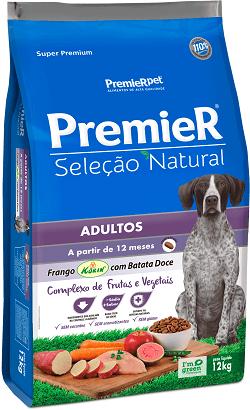Ração Premier Seleção Natural Cães Adultos Raças Medias/Grandes Frango Korin e batata doce 12 kg